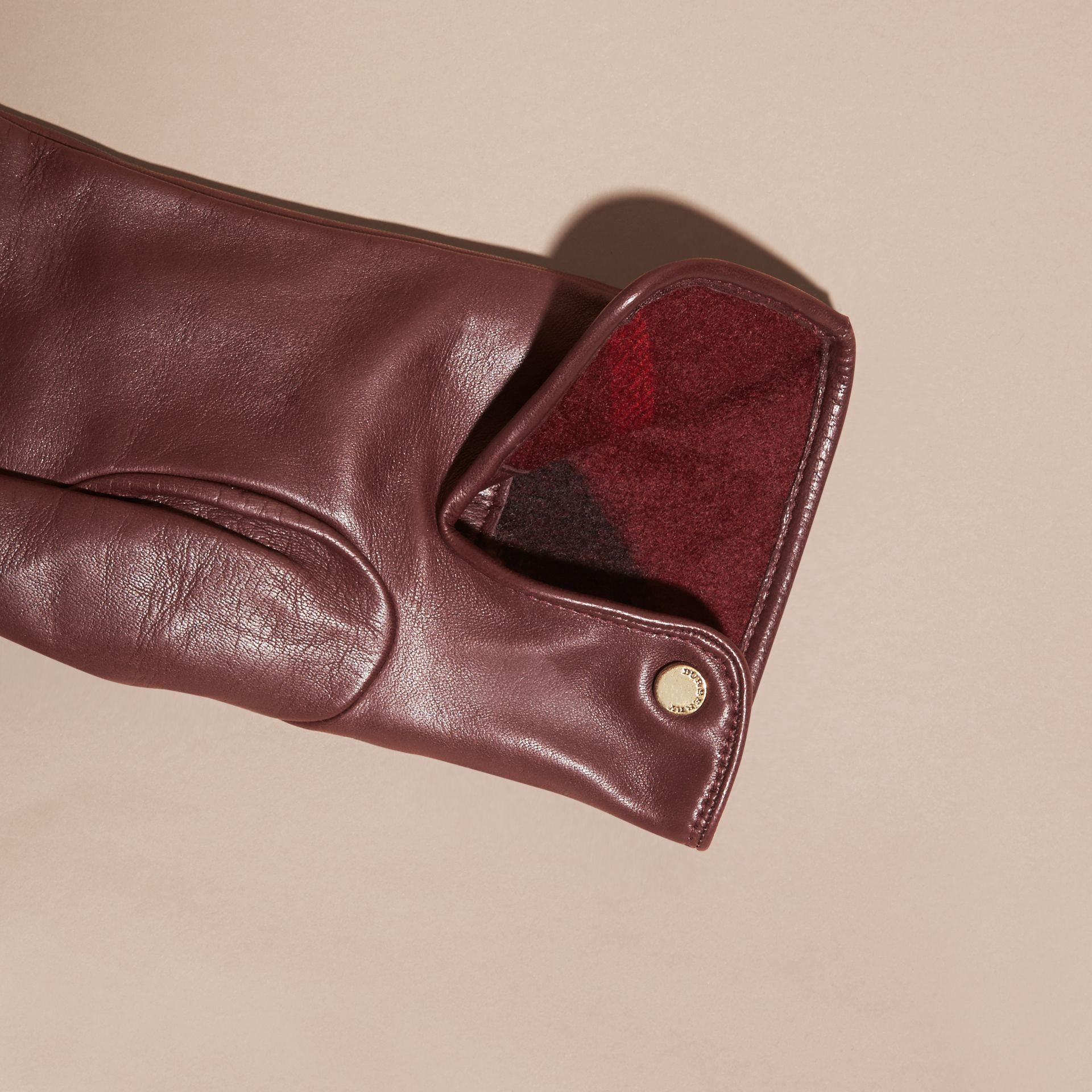Cashmere Lined Lambskin Gloves in Dark Claret - Men | Burberry - gallery image 2