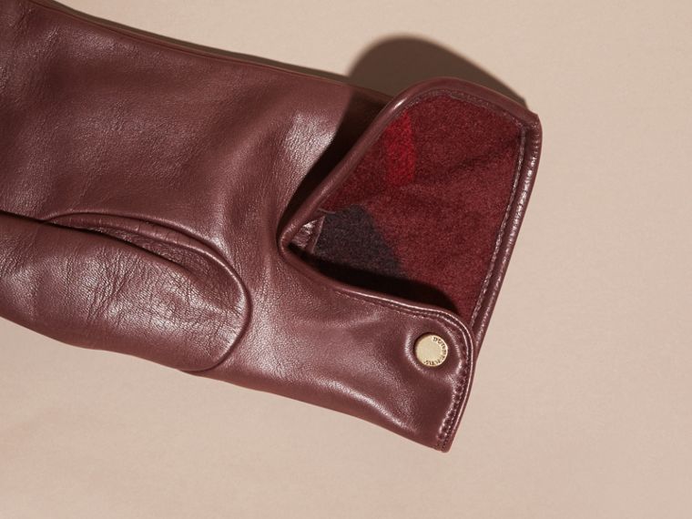 Cashmere Lined Lambskin Gloves in Dark Claret - Men | Burberry Canada - cell image 1