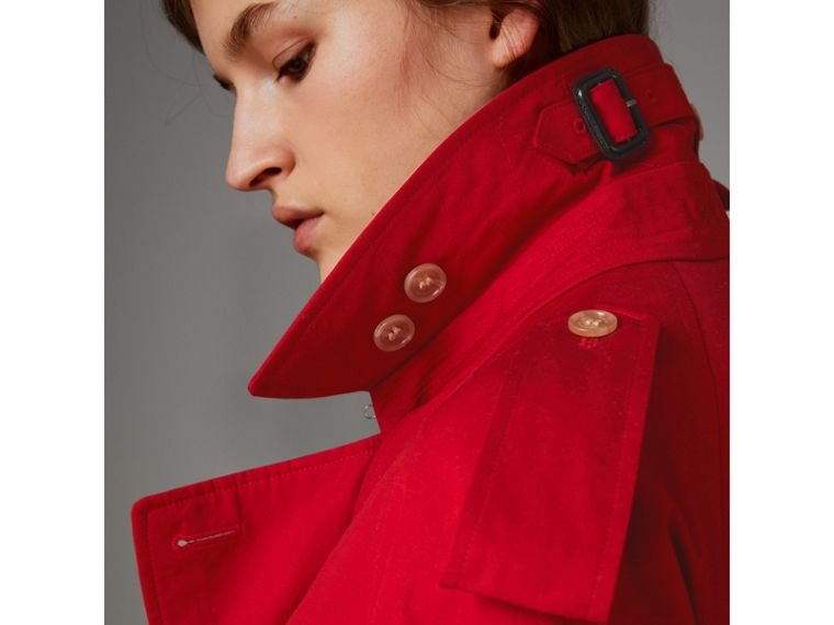 Raglan-sleeve Cotton Trench Coat in Parade Red - Women | Burberry - cell image 4