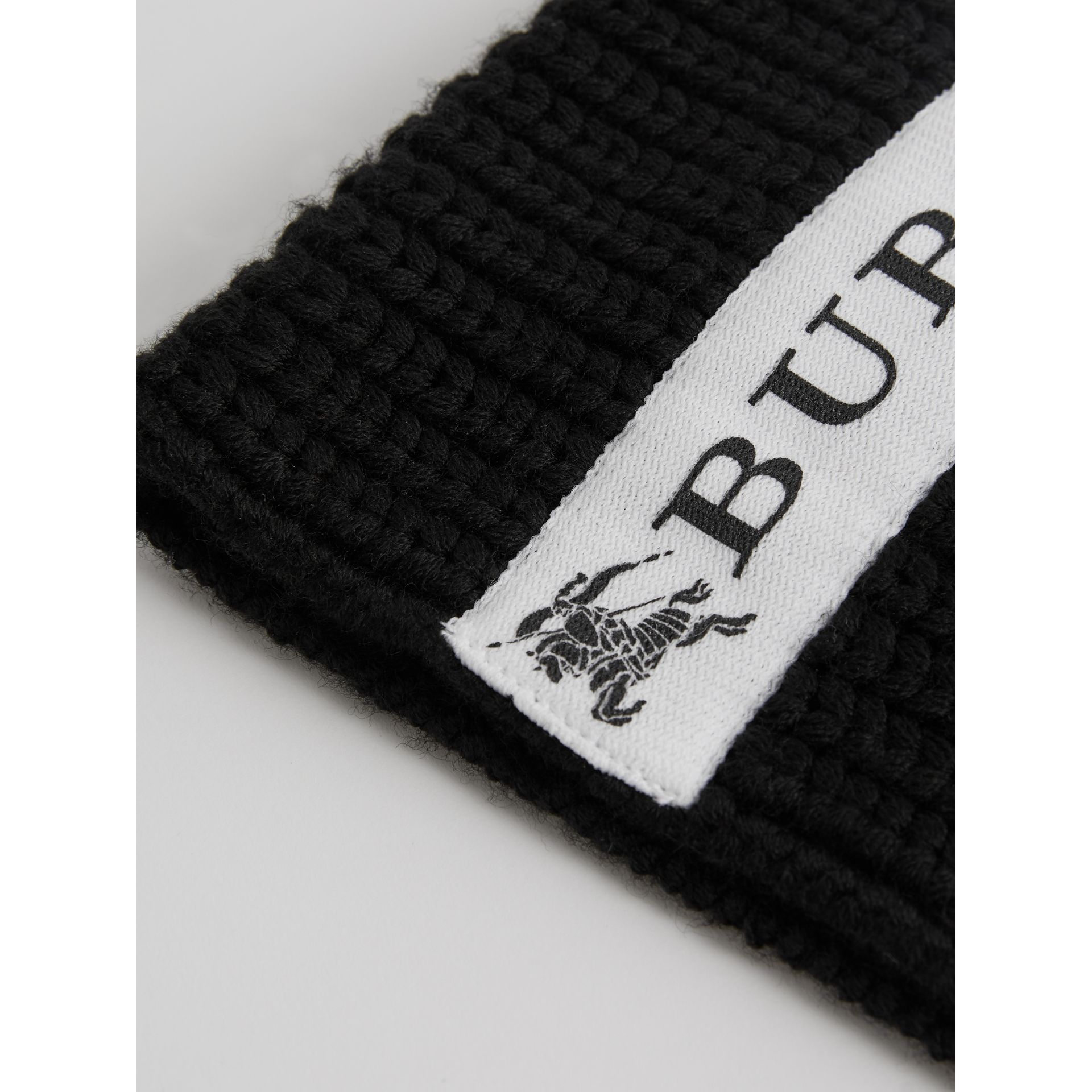 Logo Stripe Wool Beanie in Black | Burberry Singapore - gallery image 1
