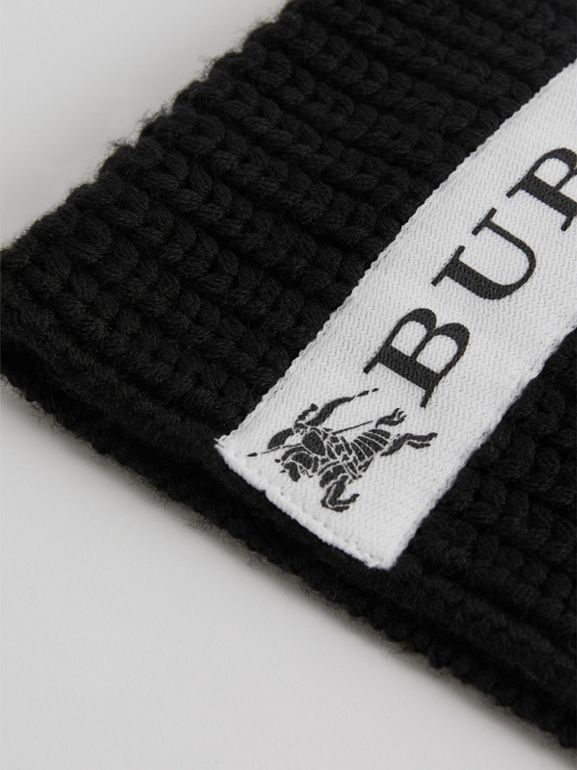 Logo Stripe Wool Beanie in Black | Burberry Singapore - cell image 1