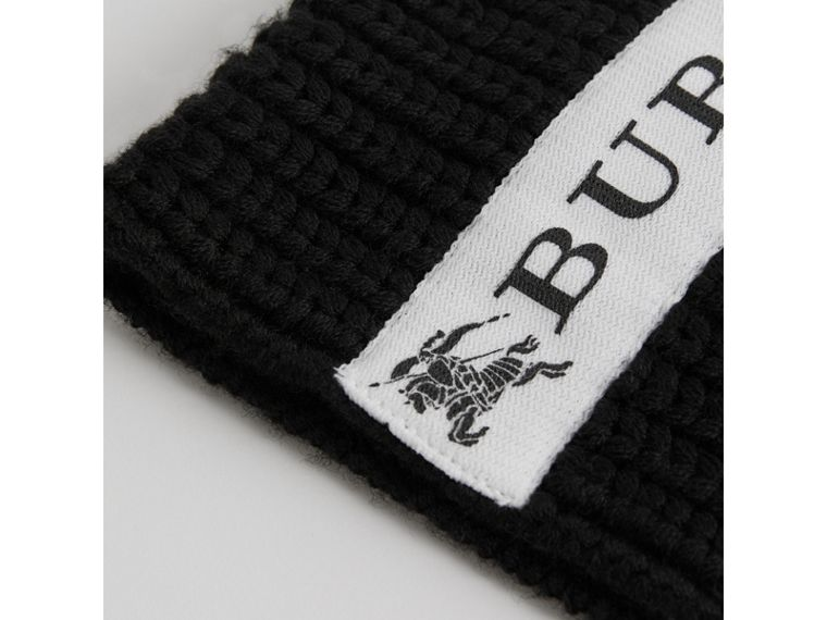 Logo Stripe Wool Beanie in Black | Burberry - cell image 1