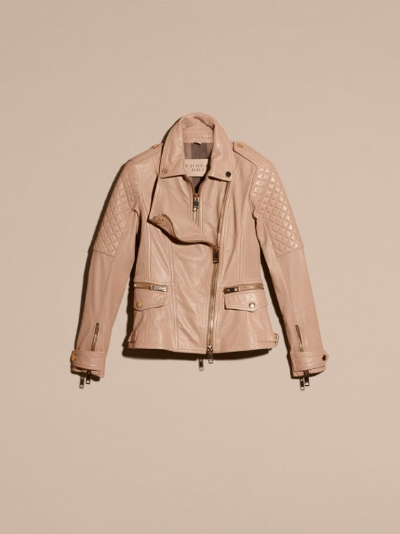 Honey Fitted Lambskin Biker Jacket - cell image 3