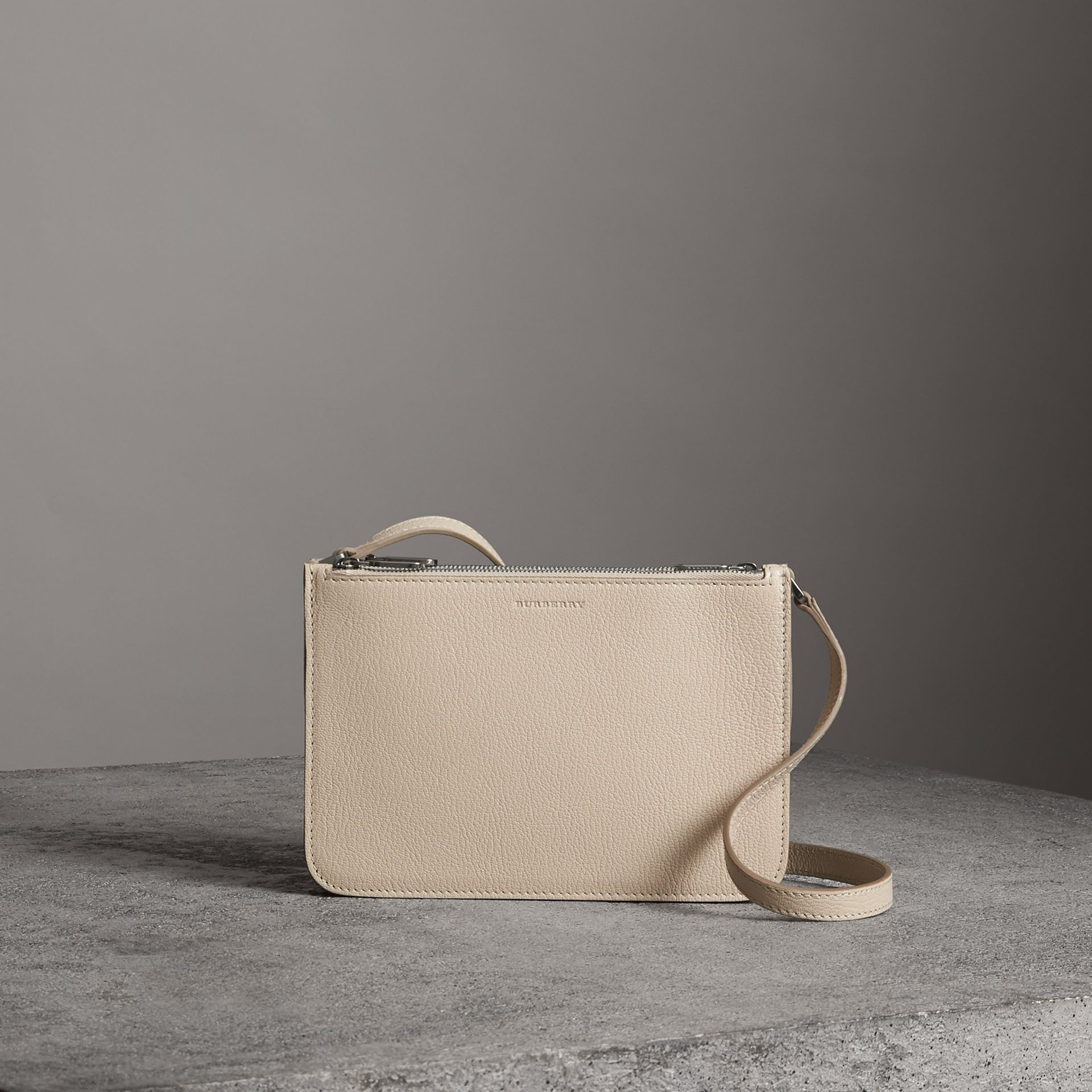 Triple Zip Grainy Leather Crossbody Bag in Stone - Women | Burberry - gallery image 0