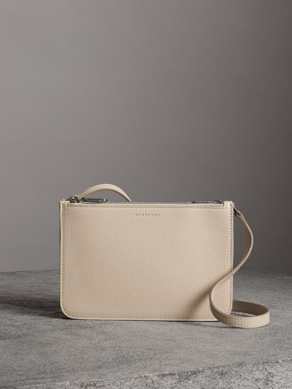 Triple Zip Grainy Leather Crossbody Bag in Stone