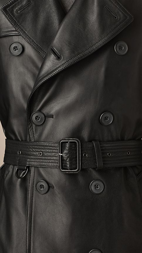 Black Nappa Leather Trench Coat - Image 4