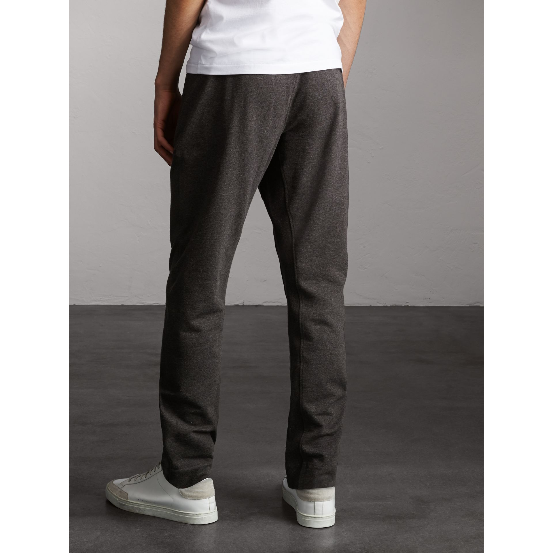 Cotton Sweatpants in Charcoal Melange - Men | Burberry - gallery image 2