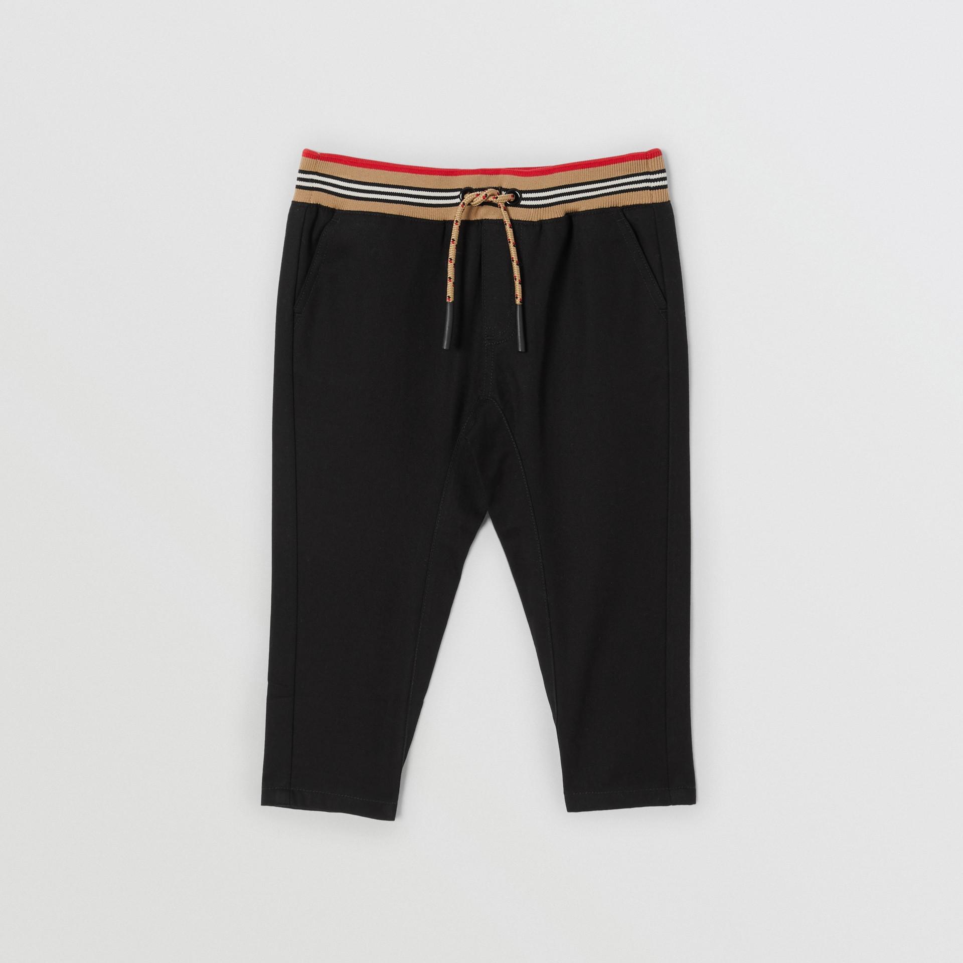Icon Stripe Detail Cotton Twill Drawcord Trousers in Black - Children | Burberry United Kingdom - gallery image 0