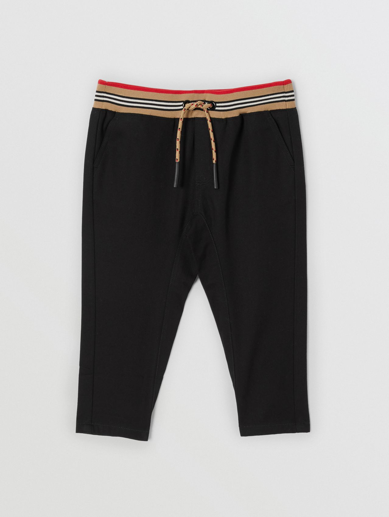 Icon Stripe Detail Cotton Twill Drawcord Trousers in Black
