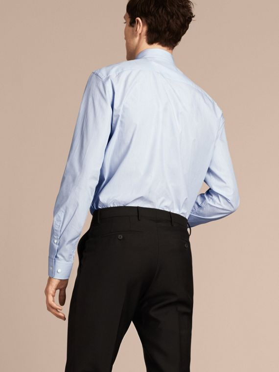 Blu urbano Camicia moderna in popeline di cotone a righe con colletto button-down - cell image 2