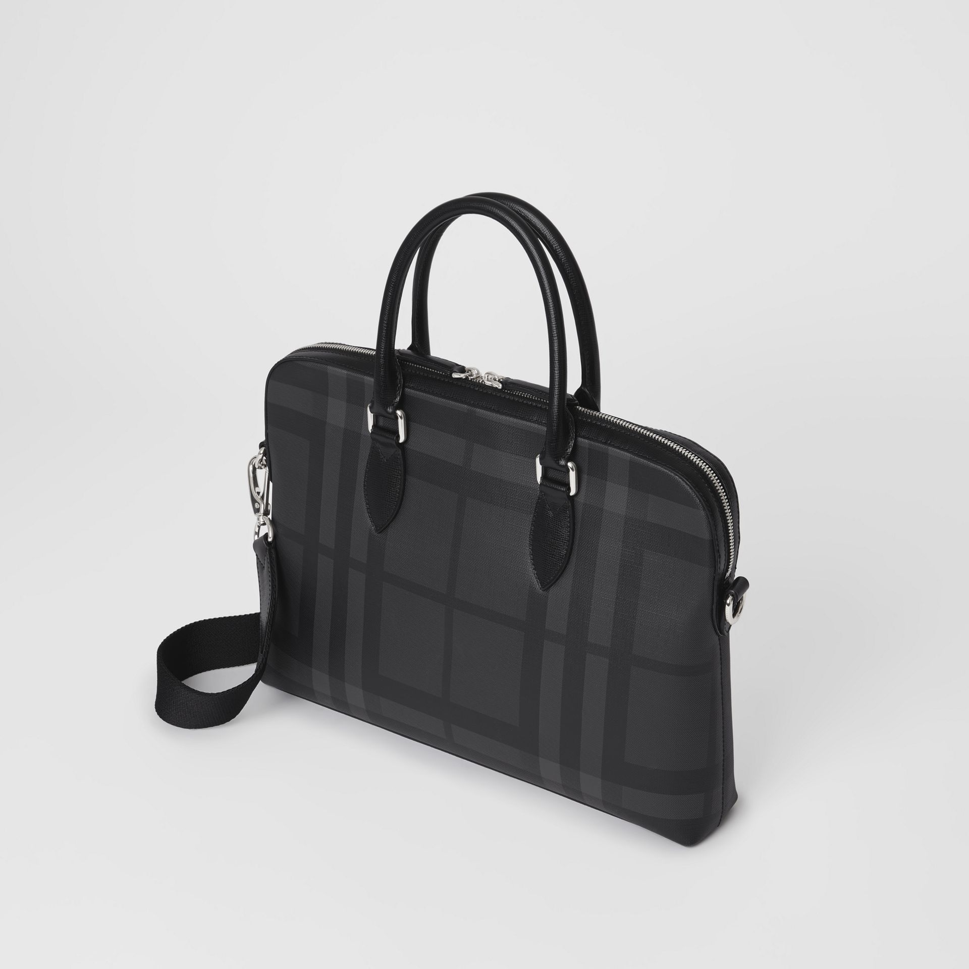 Medium Leather Trim London Check Briefcase in Charcoal/black - Men | Burberry Australia - gallery image 4