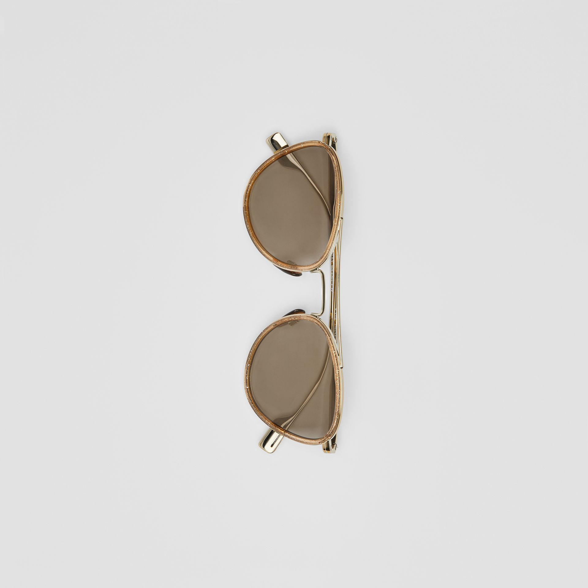 Glitter Detail Pilot Sunglasses in Gold - Women | Burberry - gallery image 3