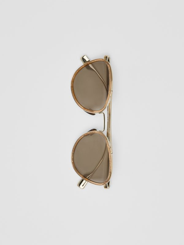 Glitter Detail Pilot Sunglasses in Gold - Women | Burberry - cell image 3