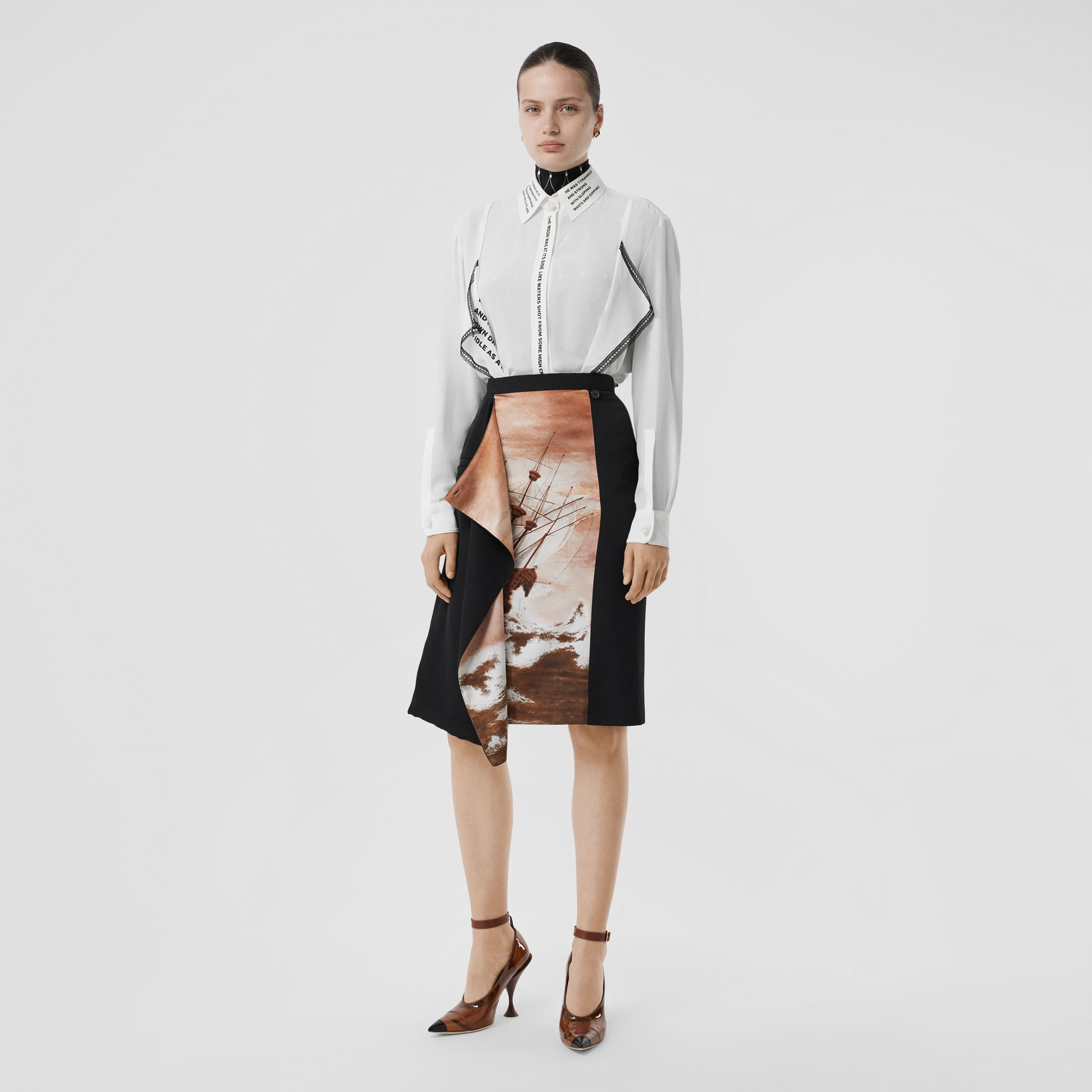 Ship Print Silk Panel Wool Pencil Skirt in Black - Women | Burberry United States - 1