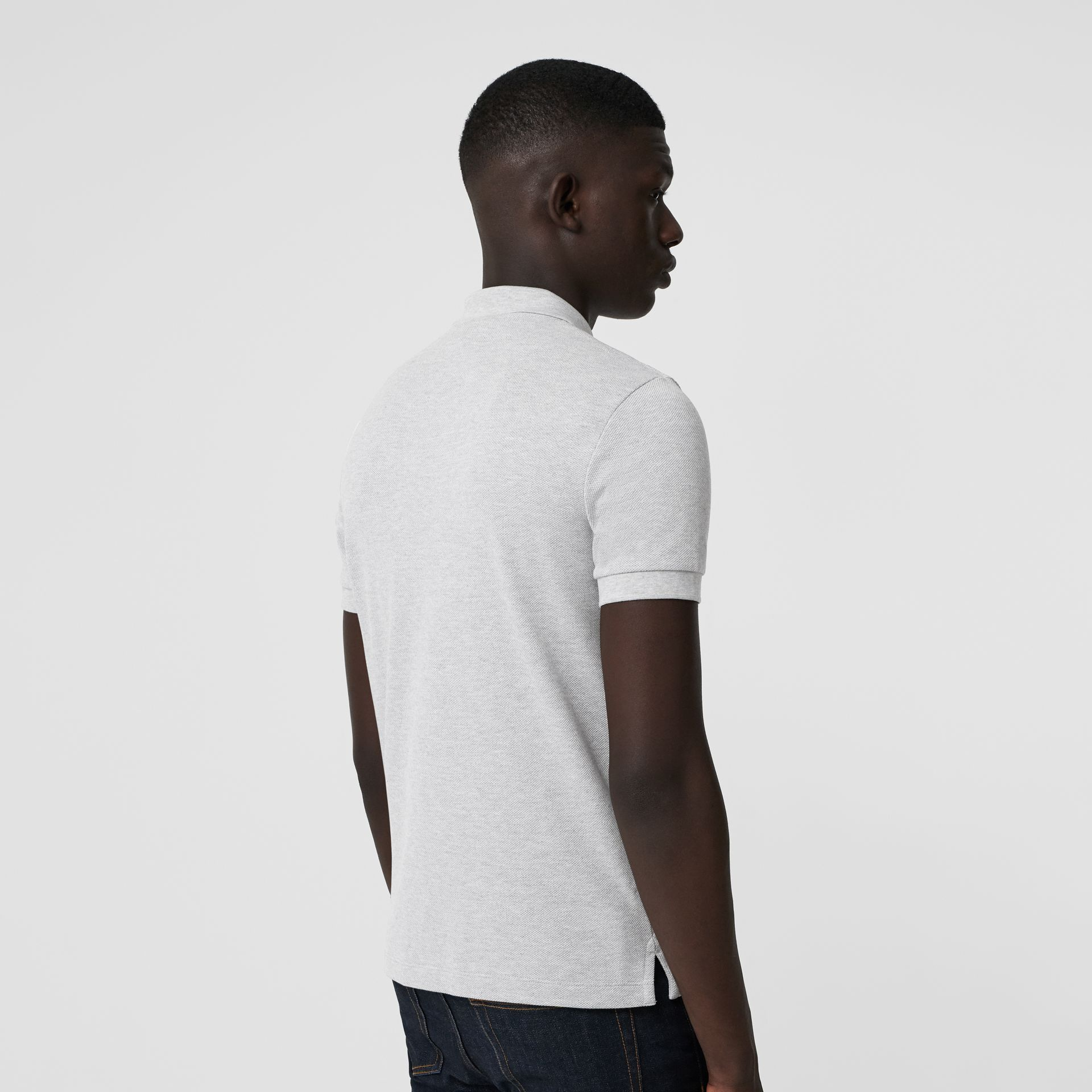 Check Placket Cotton Polo Shirt in Pale Grey Melange - Men | Burberry Canada - gallery image 2