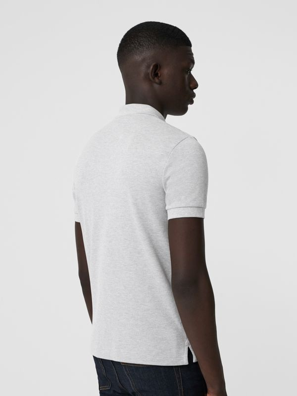 Check Placket Cotton Polo Shirt in Pale Grey Melange - Men | Burberry Australia - cell image 2