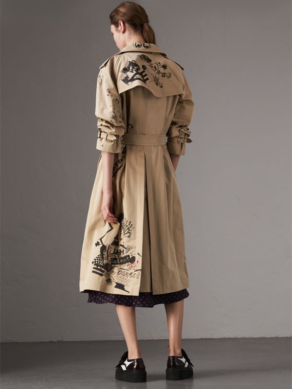 Sketch Print Cotton Gabardine Trench Coat in Honey - Women | Burberry - cell image 2