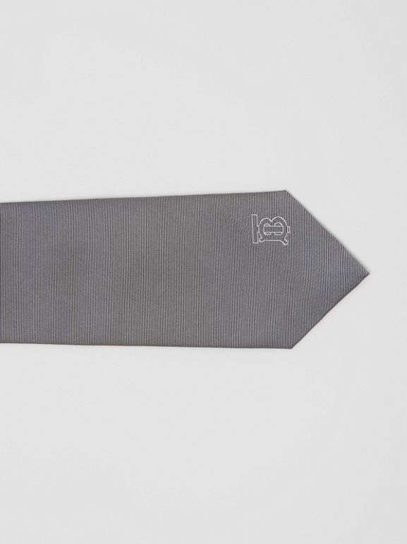 Classic Cut Monogram Motif Silk Tie in Mid Grey - Men | Burberry United Kingdom - cell image 1