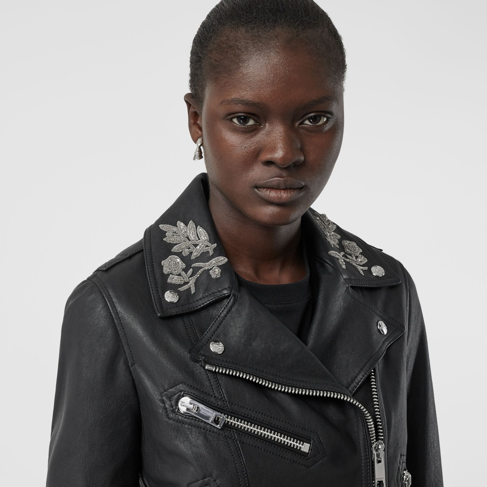 Bullion Floral Lambskin Biker Jacket in Black - Women | Burberry - gallery image 1