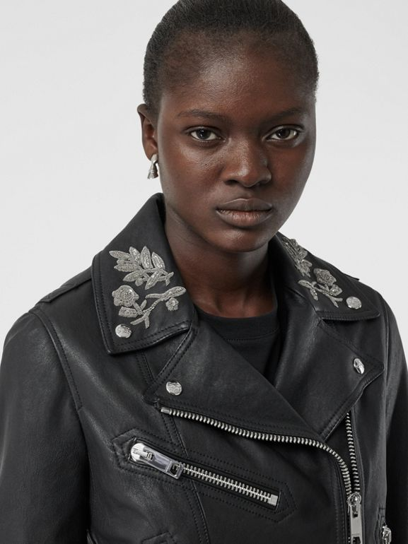 Bullion Floral Lambskin Biker Jacket in Black - Women | Burberry United States - cell image 1