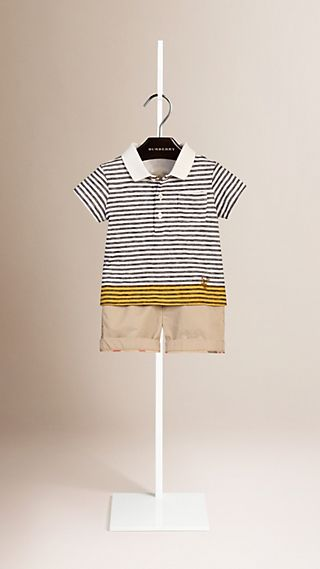 Contrast Colour Striped Cotton Polo Shirt