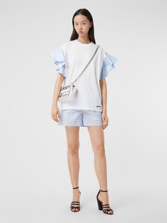 Ruffled Sleeve Cotton Oversized T-shirt in White