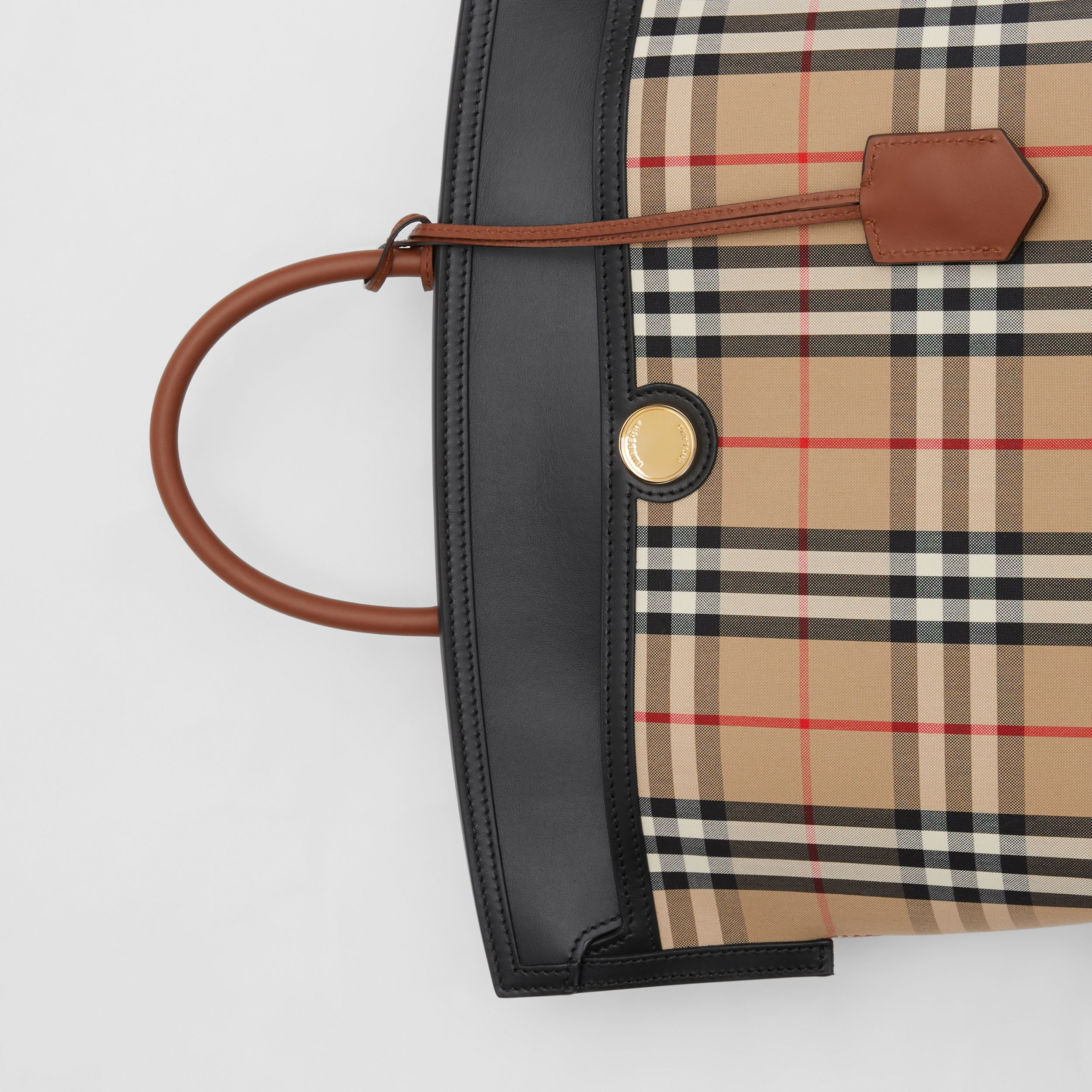 Small Vintage Check Society Top Handle Bag in Archive Beige/black - Women | Burberry Canada - 2