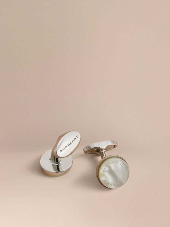 Mother-of-pearl Stone Round Cufflinks - Men | Burberry Hong Kong