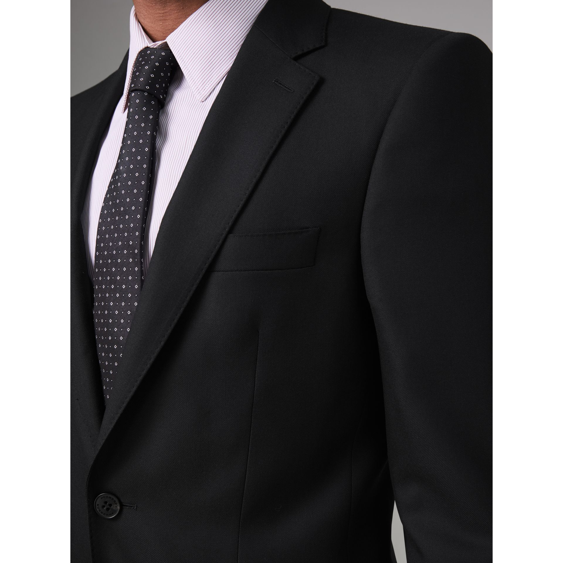 Modern Fit Wool Twill Suit in Black - Men | Burberry Canada - gallery image 1