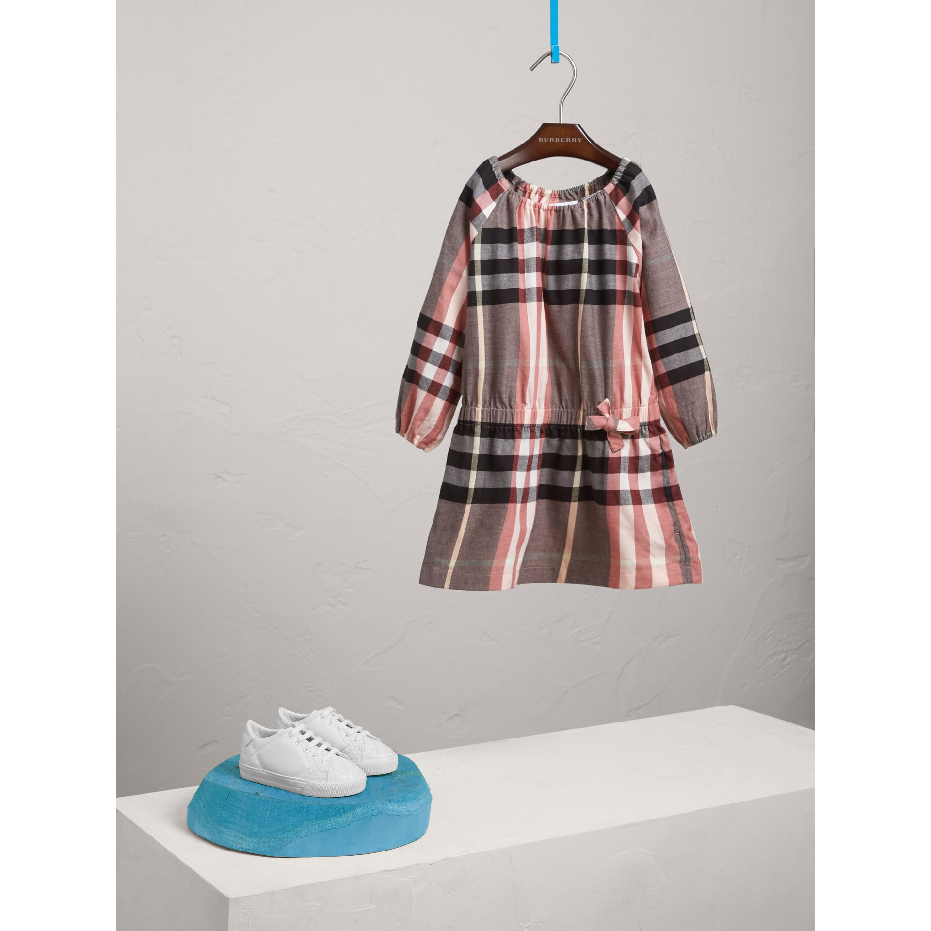 Gathered Check Cotton Flannel Dress in Dusty Pink - Girl | Burberry - gallery image 1