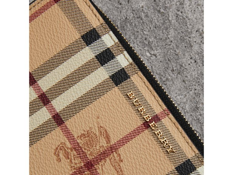 Haymarket Check and Leather Ziparound Wallet in Black - Women | Burberry United States - cell image 1