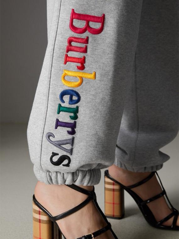 Pantalones deportivos en tejido jersey con logotipo vintage (Mezcla De Gris)