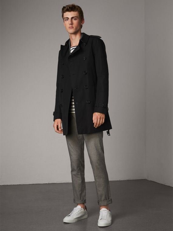The Chelsea – Mid-length Heritage Trench Coat in Black