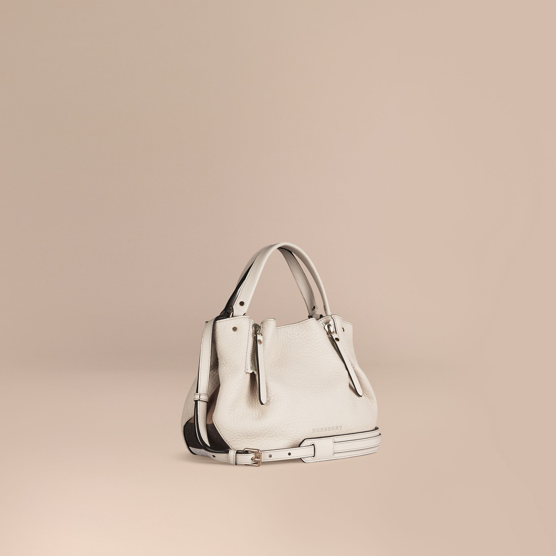 White Small Check Detail Leather Tote Bag White - gallery image 1