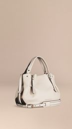 Small Check Detail Leather Tote Bag