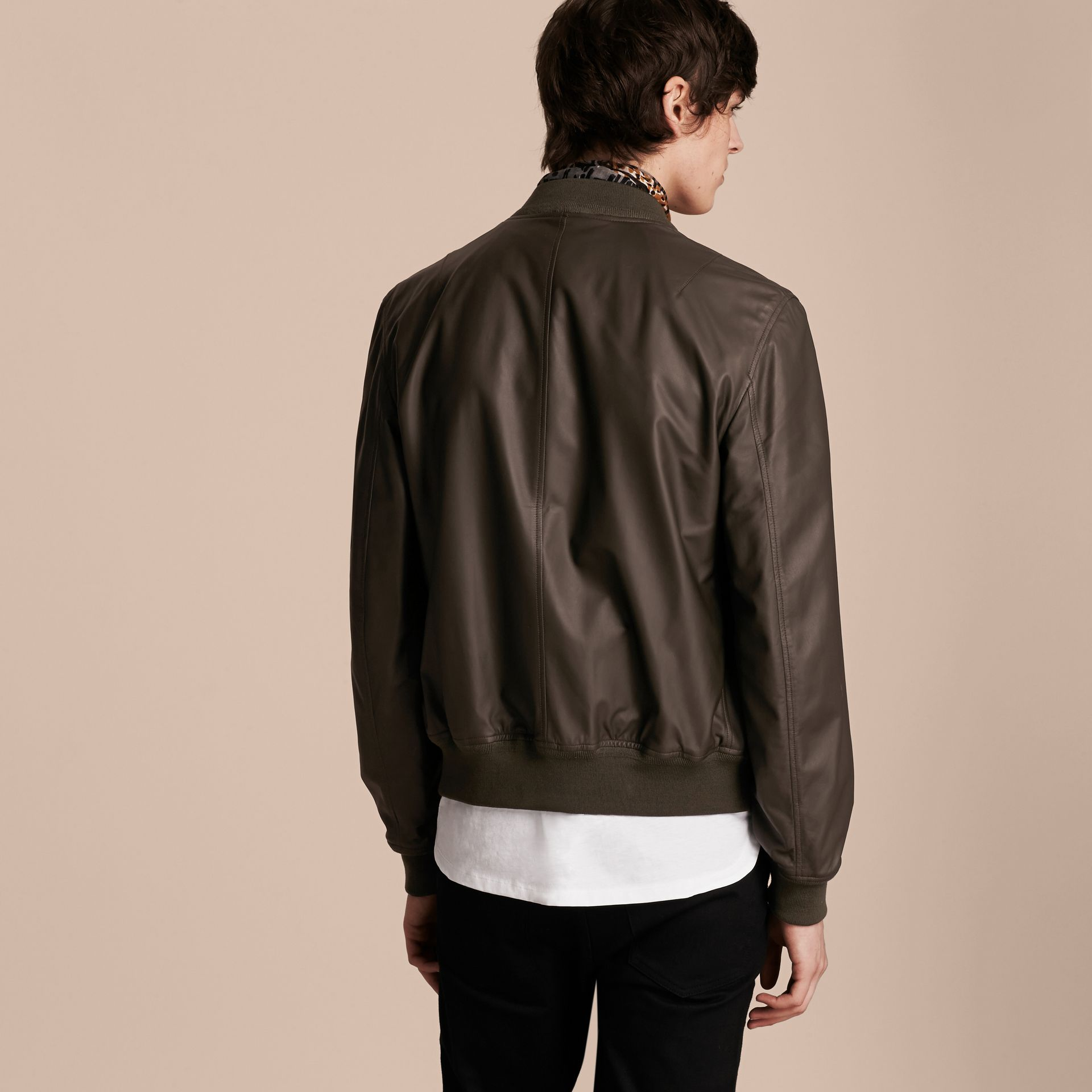 Lightweight Lambskin Bomber Jacket in Olive - gallery image 3