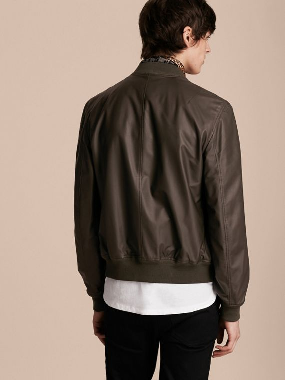 Lightweight Lambskin Bomber Jacket in Olive - cell image 2