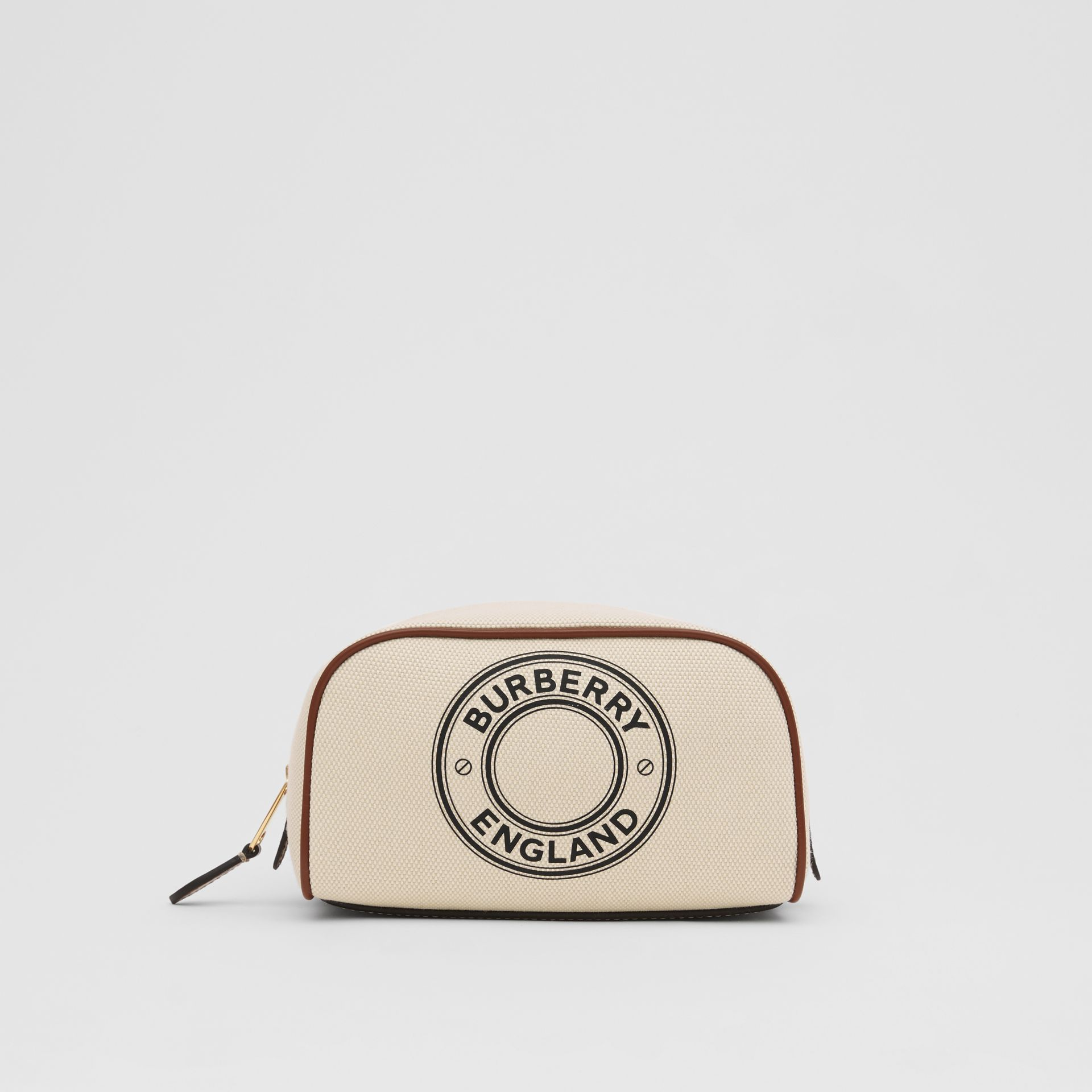 Small Logo Graphic Cotton Canvas Travel Pouch in White/tan - Women | Burberry United Kingdom - gallery image 0