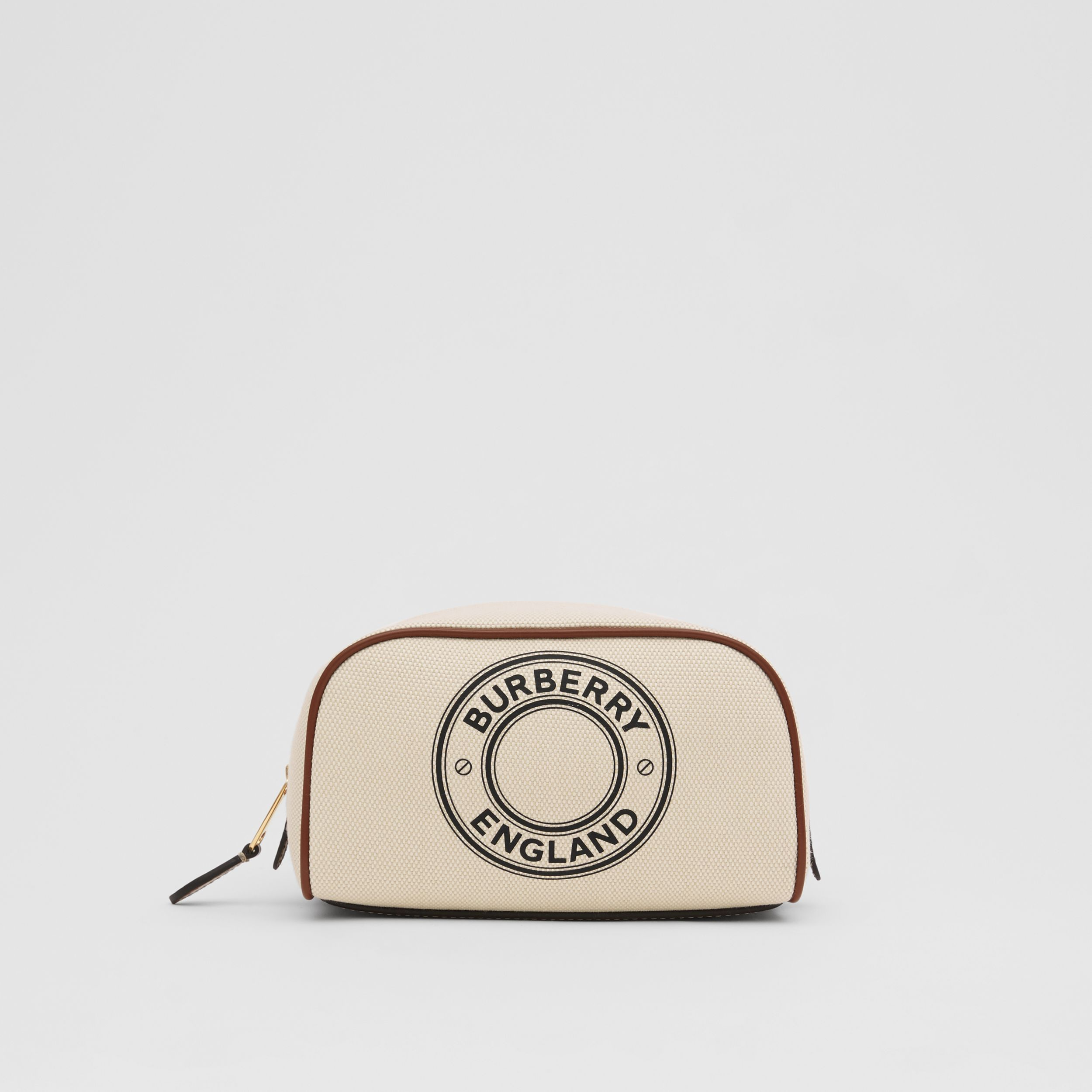 Small Logo Graphic Cotton Canvas Travel Pouch in White/tan - Women | Burberry - 1