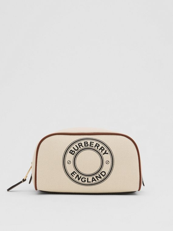 Small Logo Graphic Cotton Canvas Travel Pouch in White/tan