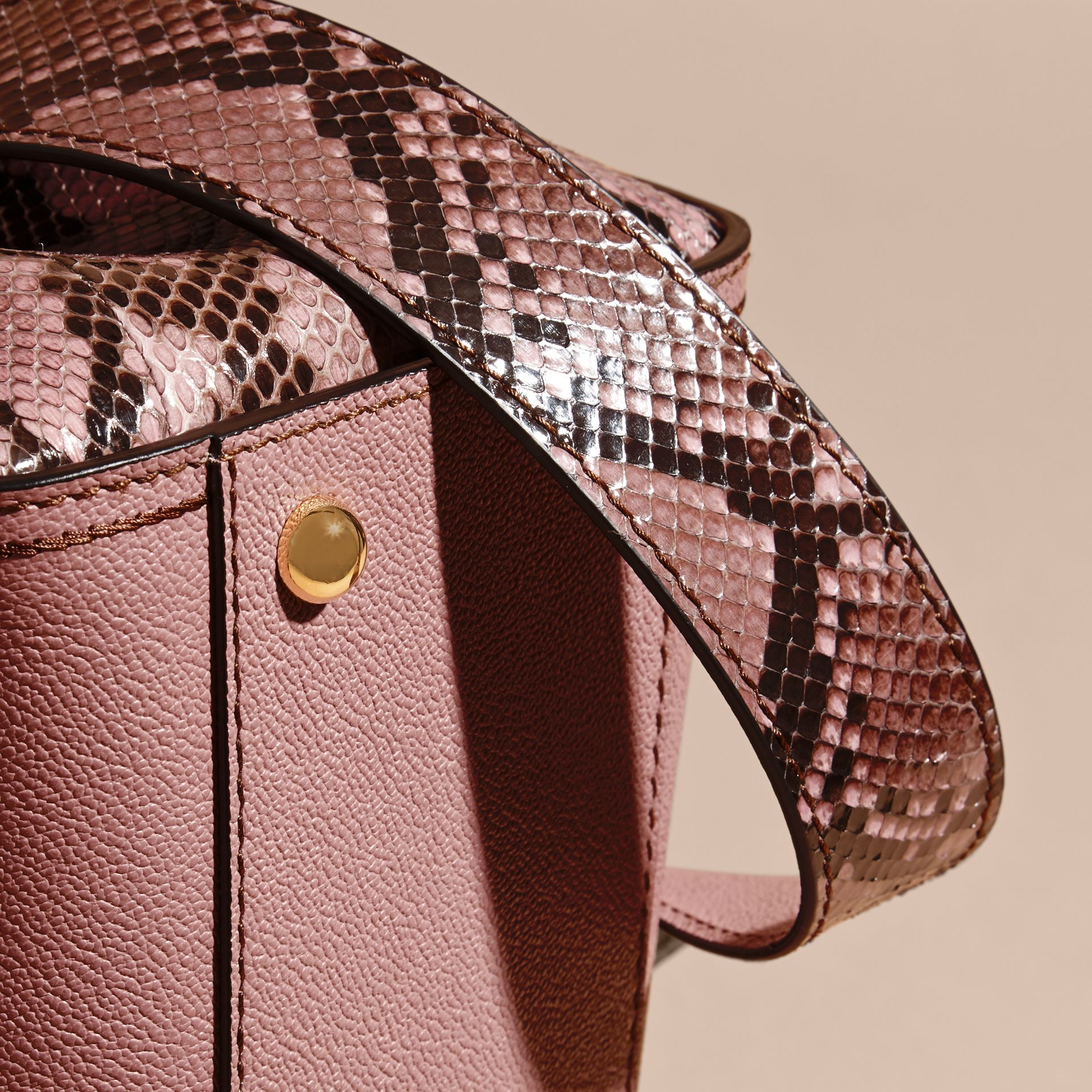 Dusty pink The Medium Buckle Tote in Grainy Leather and Python - gallery image 7