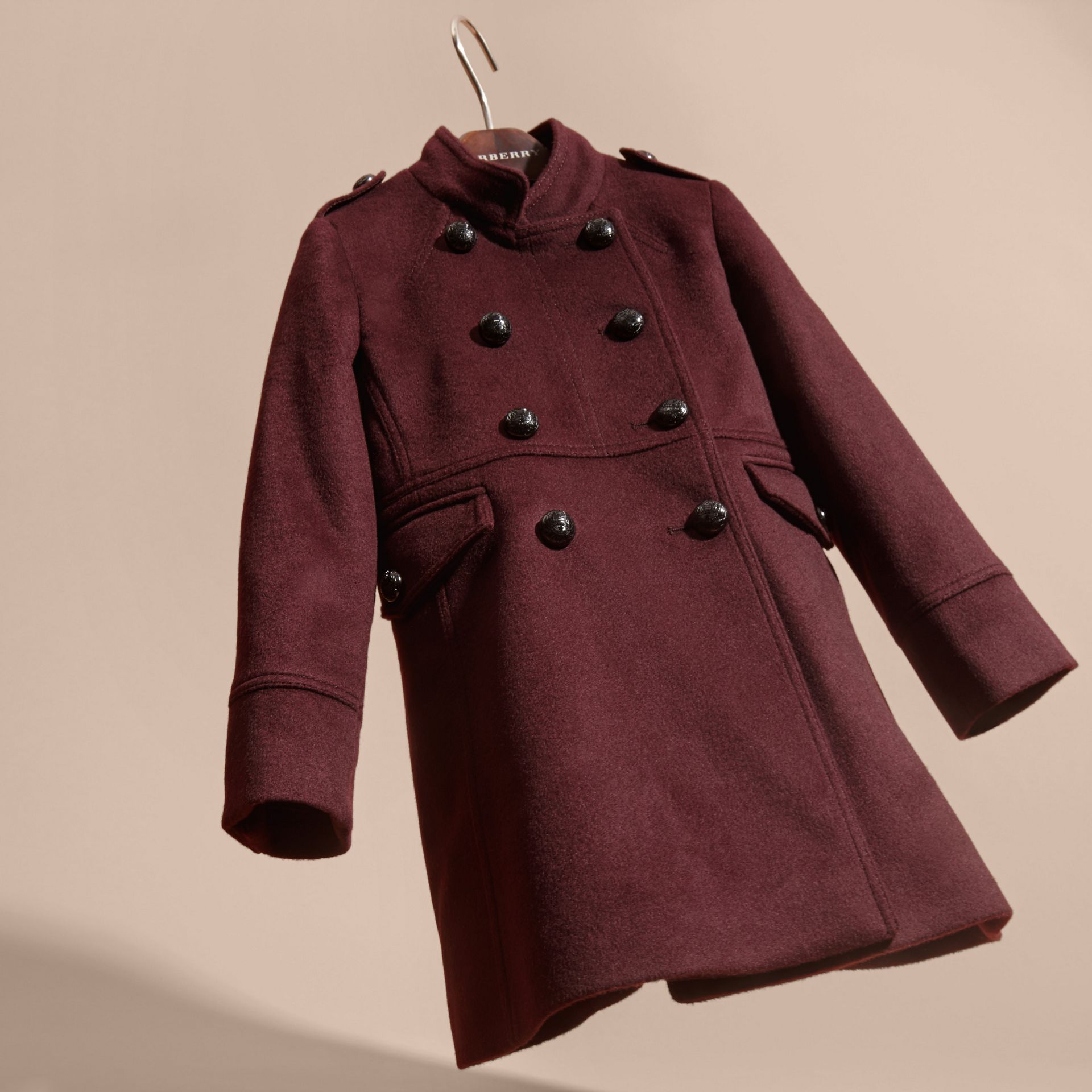 Deep plum Wool Cashmere Military Coat - gallery image 3