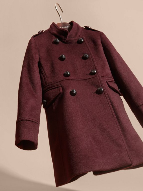 Deep plum Wool Cashmere Military Coat - cell image 2