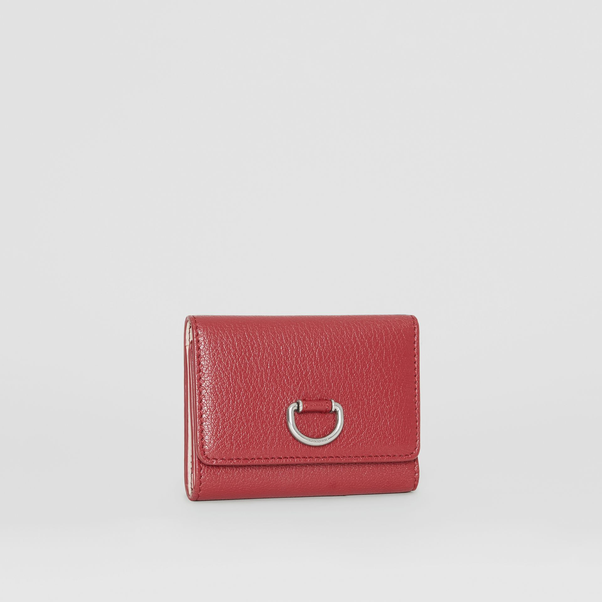 Small D-ring Leather Wallet in Crimson - Women | Burberry - gallery image 3
