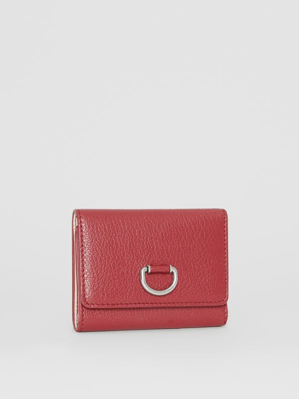 Small D-ring Leather Wallet in Crimson - Women | Burberry - cell image 3