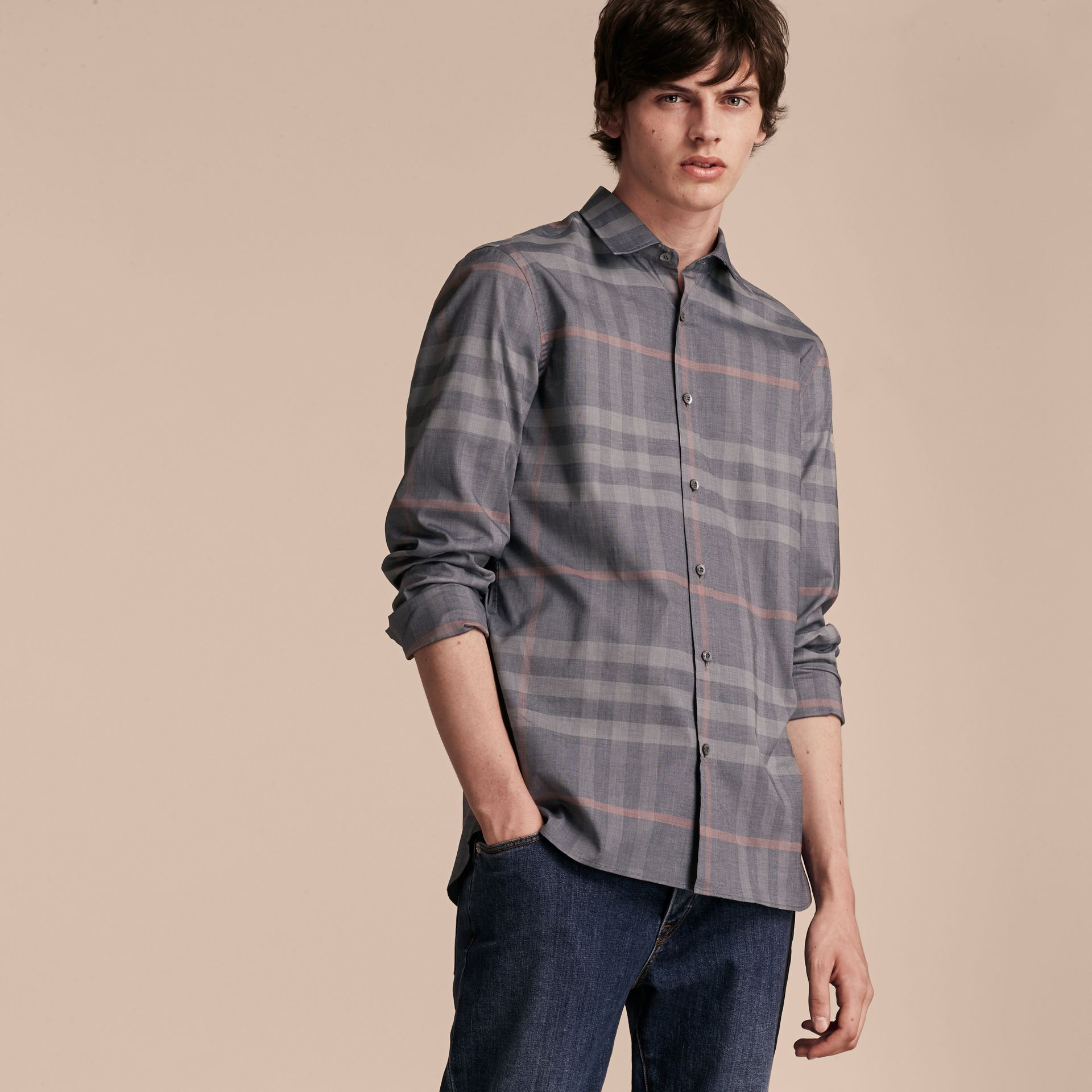 Check Cotton Oxford Shirt Dark Charcoal - gallery image 6