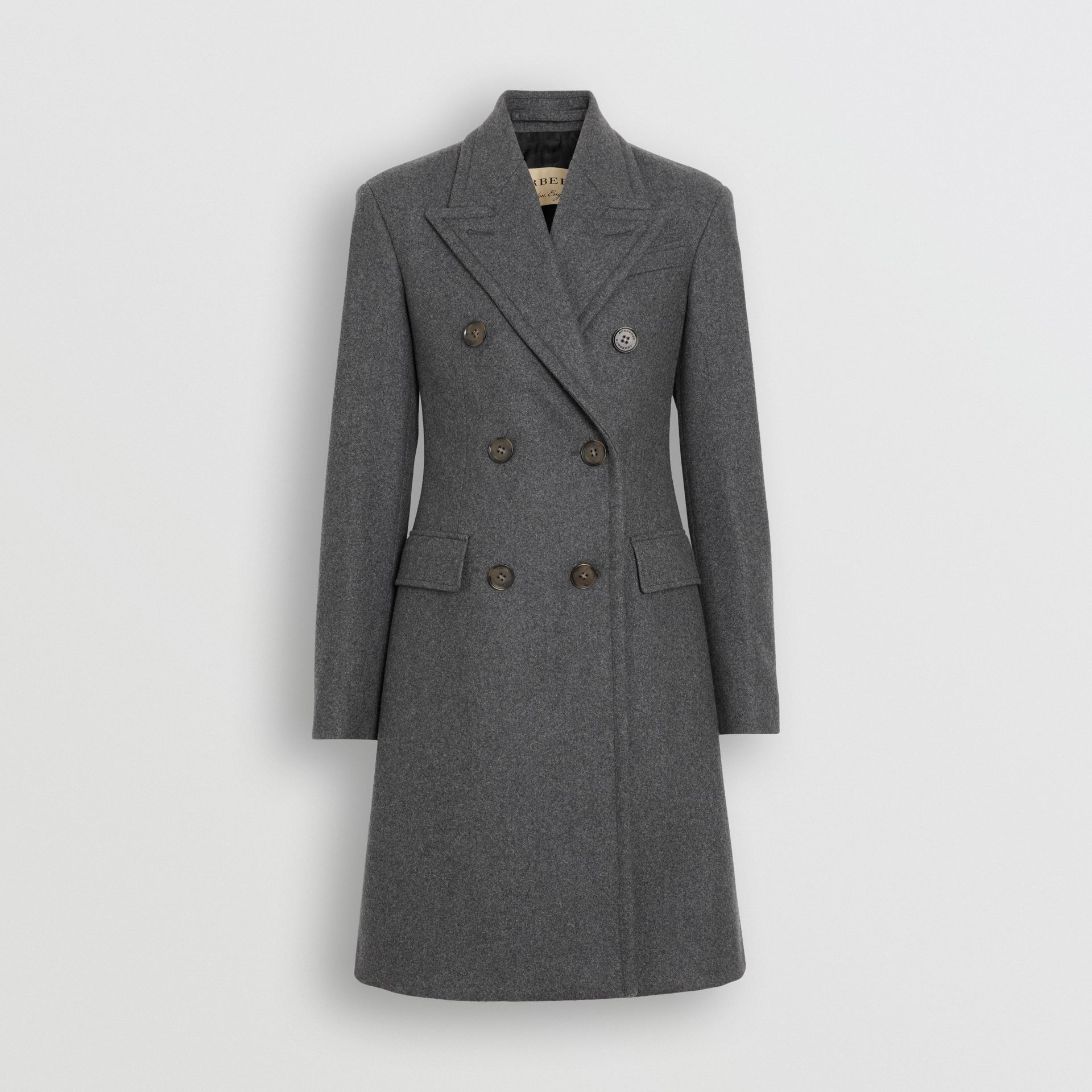 Double-breasted Wool Tailored Coat in Mid Grey Melange - Women | Burberry Australia - gallery image 3