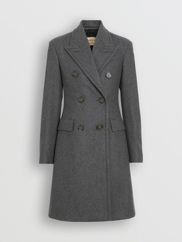 Double-breasted Wool Tailored Coat in Mid Grey Melange - Women | Burberry - cell image 3