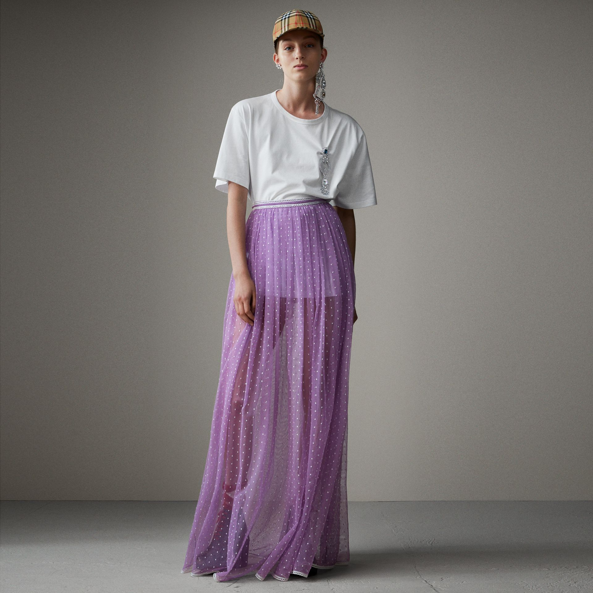 Floor-length Flocked Cotton Tulle Skirt in Lilac/white - Women | Burberry Australia - gallery image 0