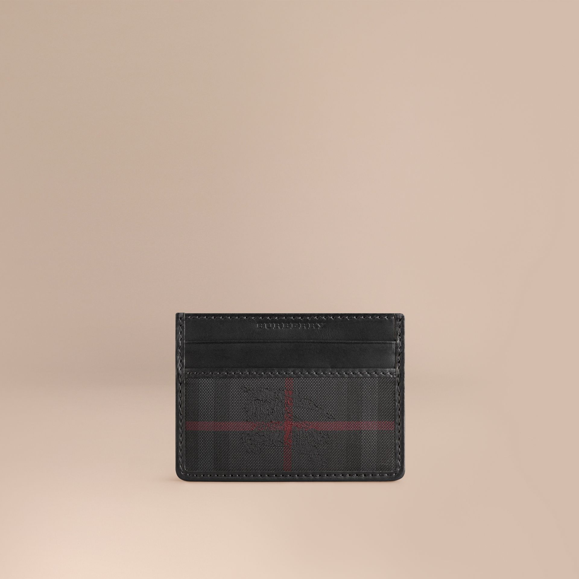 Horseferry Check Card Case in Charcoal/black - gallery image 1